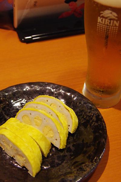 からし蓮根とビール