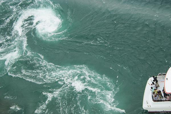 渦潮と小型観潮船